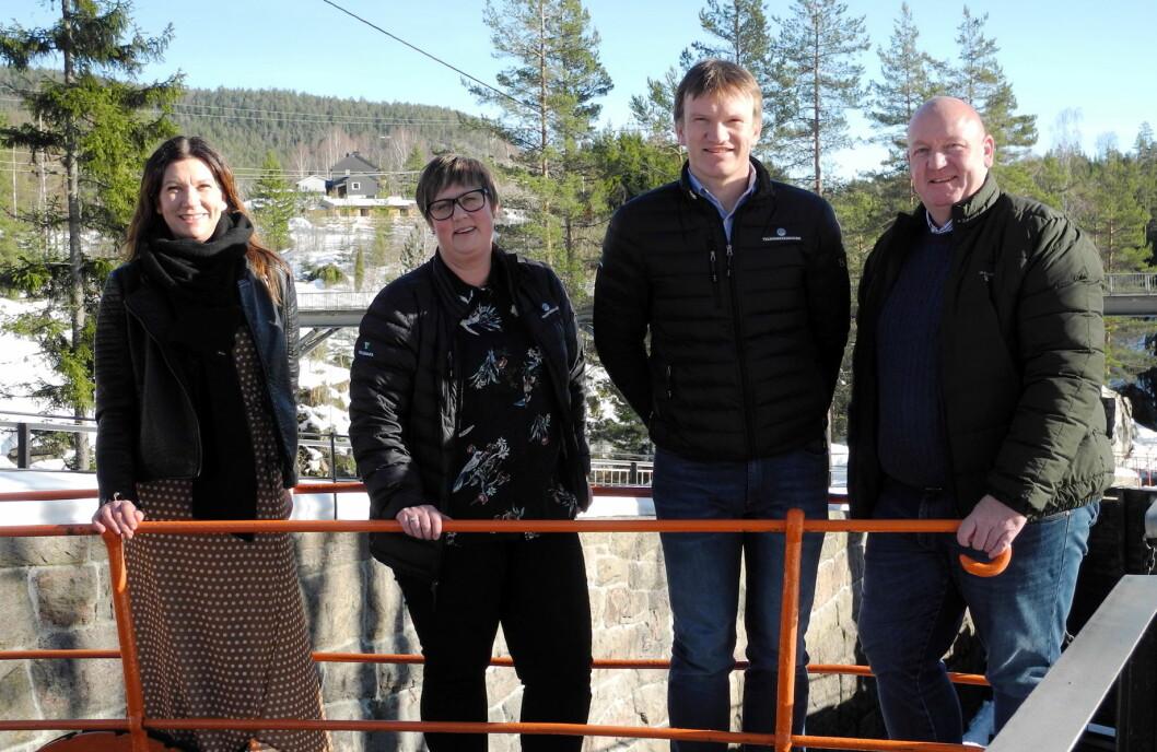 Styret i Telemarkskanalen booking AS. Fra venstre Janne Lindgren (styremedlem), Kjersti Haland (daglig leder), Pål Kleffelgård (styremedlem) og Erling M. Kristensen (styreleder). (Foto: Telemarkskanalen booking AS)