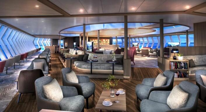 Illustrasjon av nye Explorer Louge & Bar. (Illustrasjon: Hurtigruten)