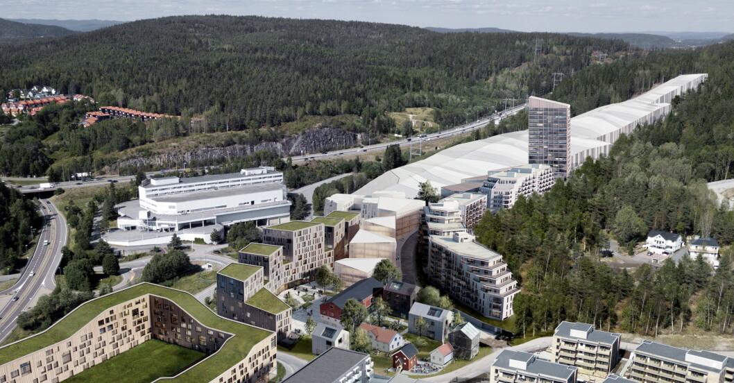 Illustrasjon av SNØ og den nye bydelen Snøporten på Lørenskog. Det nye Thon-hotellet skal bygges inntil innendørsarenaen SNØ. (Illustrasjon: (C) Reiulf Ramstad Arkitekter)