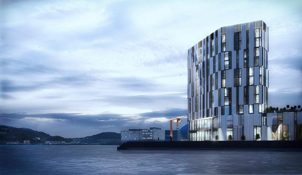 Slik blir det kommende Quality-hotellet i Harstad. (Illustrasjon: Nordic Choice Hotels)