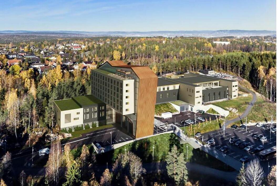 lllustrasjonen viser det planlagte hotellet, sett fra sørøst. Hotellet blir på ni etasjer hvor fem etasjer er avsatt til hotellrom. (Illustrasjon/foto: Kongeveien Eiendom AS/Oppegård kommune)