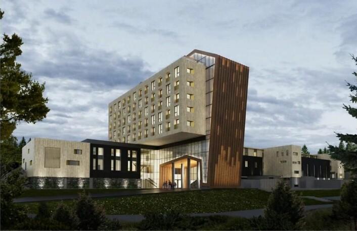 Det planlagte hotellet, sett fra sørøst. Hotellet blir på ni etasjer, der fem etasjer er avsatt til hotellrom. (Illustrasjon: Kongeveien Eiendom AS)