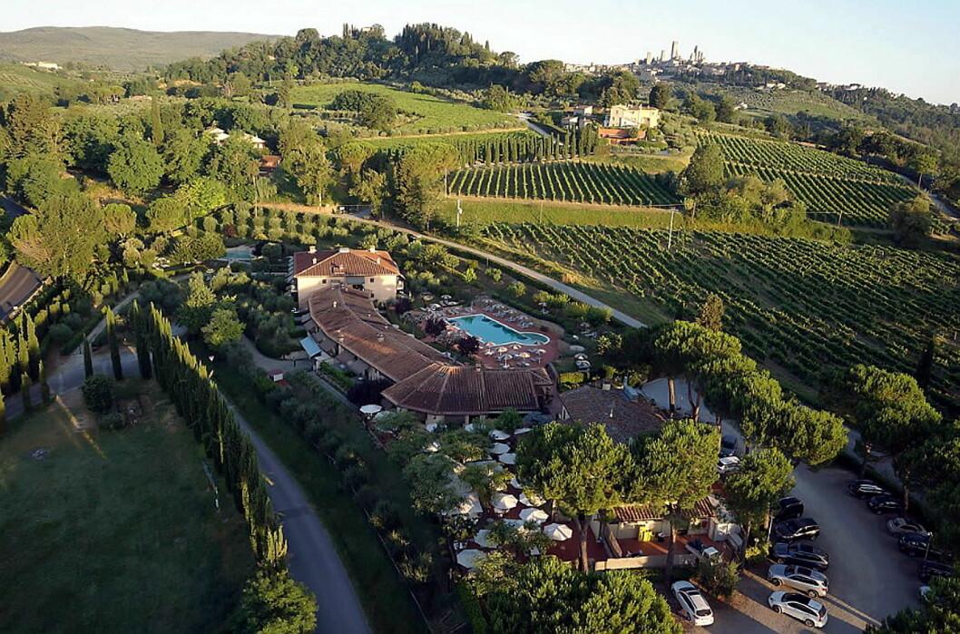 Hotel Sovestro i Toscana. Nederst i bildet restaurant Pode. (Foto: Hotel Sovestro)