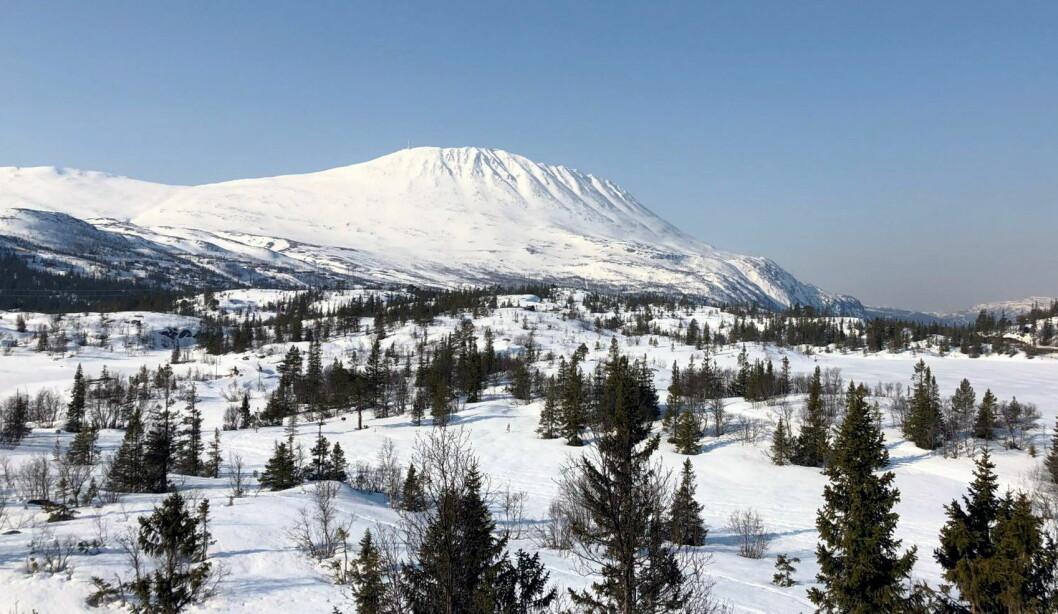 Gaustatoppen fotografert 5. april 2019. (Foto: Telemark Alpin/Telemark SuperSki)