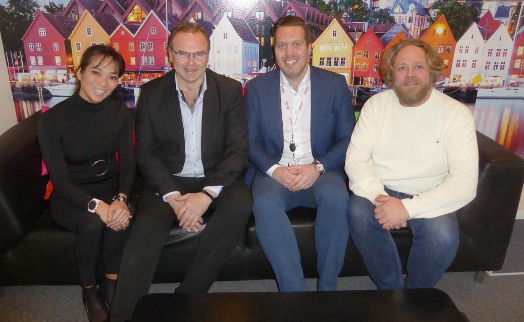 Fra venstre Helene Skjenneberg (direktør for mat og drikke i Scandic Hotels Norge), Jan-Erik Pavels Smith (gründer og daglig leder i Greenway-Norge), Andreas Jenssen Berg (Gress-ansvarlig hos Staples) og Morten Hallan (kjøkkensjef Scandic Hotels Norge).