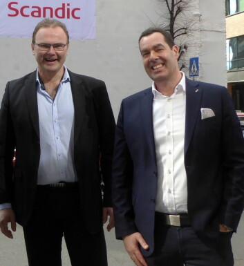 Gründer og daglig leder for Greenway-Norge, Jan-Erik Pavels Smith (til venstre), sammen med avtroppende direktør for mat og drikke i Scandic Hotels Norge, Morten Malting<em>.</em>
