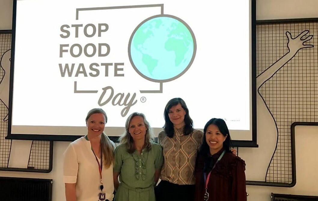 Fra venstre Julie Aasheim, Mette Nygård Havre, Kristine Ullaland og og Maria Williams inspirerte på Stop Food Waste Day-frokostmøte på Media City Bergen. (Foto: Compass Group)