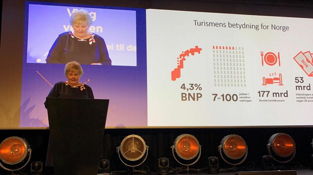 Statsminister Erna Solberg (H) åpnet NHO Reiselivs årskonferanse 2019 på Clarion Hotel The Hub i Oslo sentrum. (Foto: NHO Reiseliv)