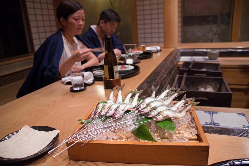 Ayu – som også omtales som «søtfisk» – er fisket rett på utsiden, spreller når den kommer inn og plasseres på metallspidd slik at det ser ut som den fremdeles svømmer. (Foto: Georg Mathisen)