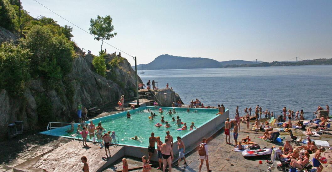 Helleneset badeplass ved Bergen. (Foto: Bergen og omland friluftsråd)
