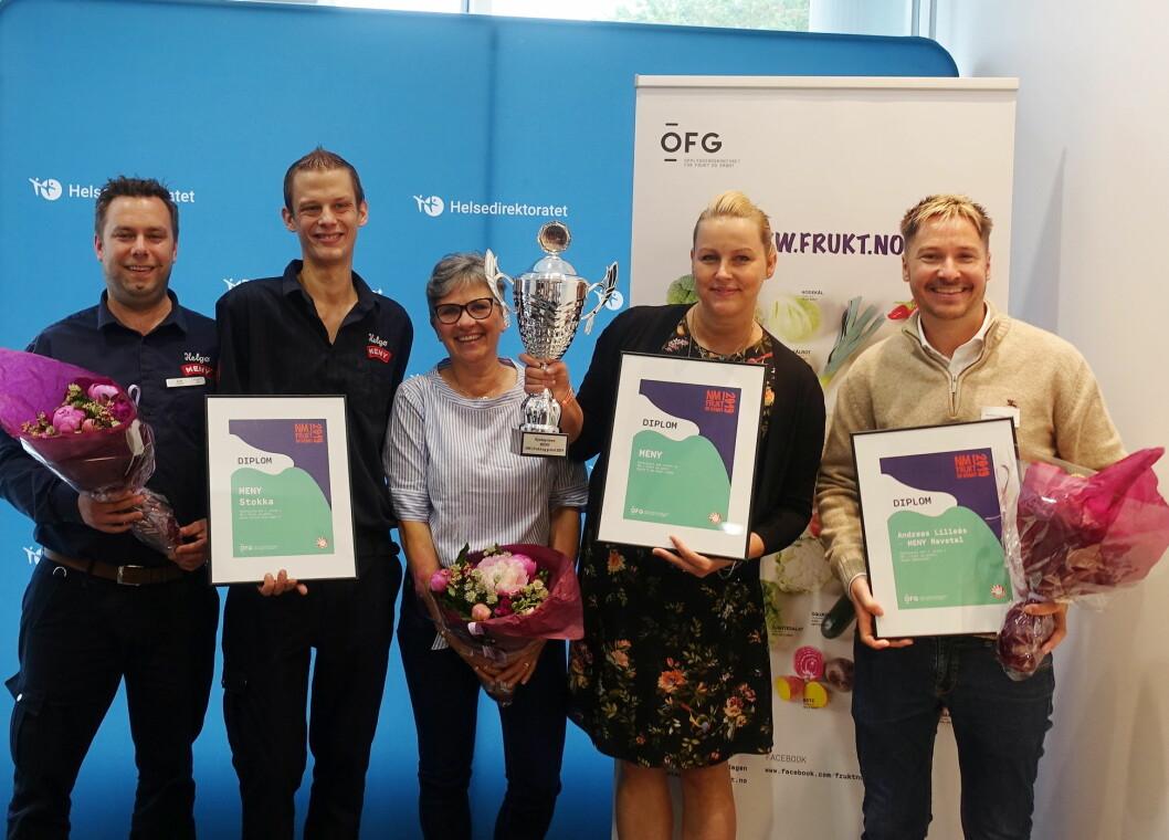 Meny vant kjedeprisen, og i tillegg en fin 3. plass til Meny Stokka og den nest beste ambassadøren fra Meny Revetal. (Foto: Opplysningskontoret for frukt og grønt)