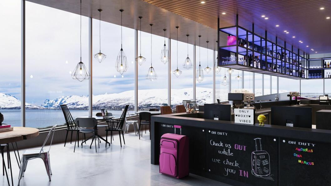 Moxy Hotels skal etablere seg i Tromsø. Både fellesarealer og resepsjon blir å finne i toppetasjen. (Foto/illustrasjon: Moxy Hotels)