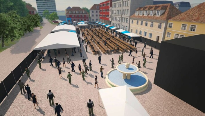 Øvre torv i Kristiansand blir arena for Sørlandets Mat- og Bryggerifestival. (Illustrasjon:Sørlandets Mat- og Bryggerifestival)