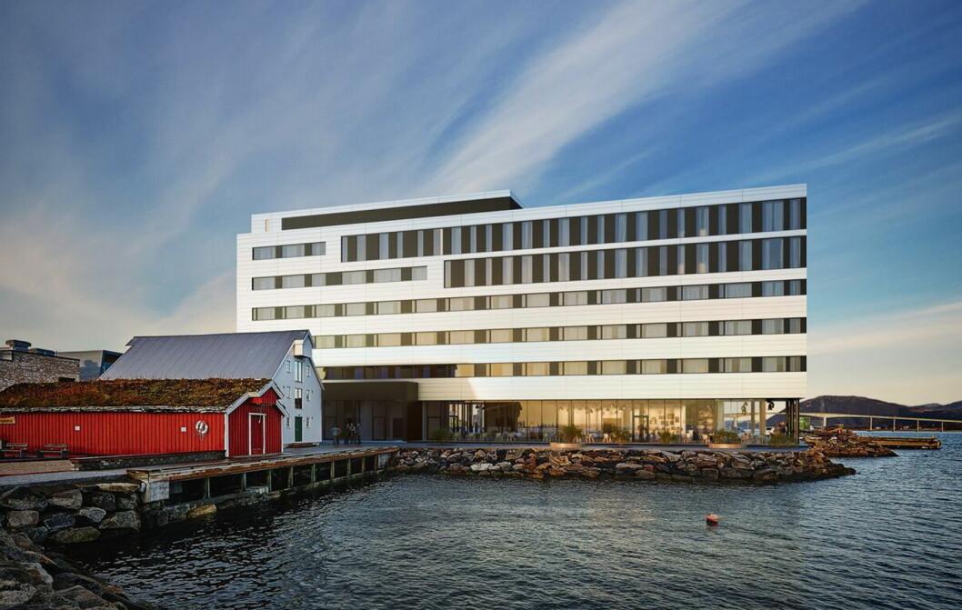 Slik blir Scandic Sortland, som etter planen skal åpnes i 2021. (Illlustrasjon: Scandic Hotels)