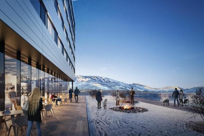 Fasade med panoramautsikt mot Vesterålens høye tinder. (Illustrasjon: Scandic Hotels)