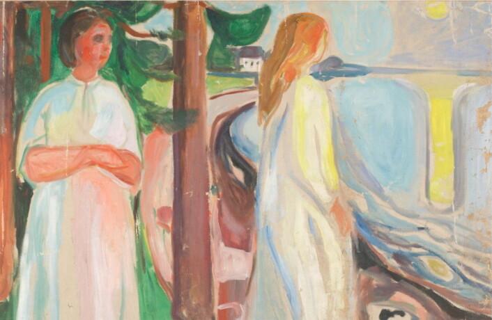 Oljemaleriet«To hvitkledde kvinner på stranden» av Edvard Munch pryder veggen i lobbyen på Clarion Hotel Oslo. (Foto: Clarion Hotel)