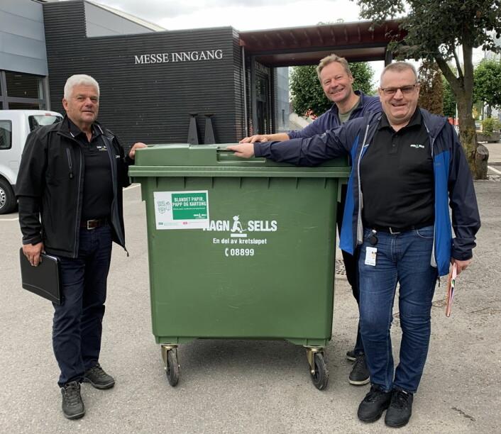 Tema på Østlandske Storhusholdning 2019: Effektiv avfallshåndtering. Fra venstre Werner Granmo, (RagnSells AS), Konrad Sel (Utstillingsplassen Messer AS) og Kjell Sørum (RagnSells AS). (Foto: Østlandske Storhusholdning)