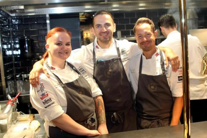 Eline Sofie Sunde (fra venstre), Filip August Bendi og Sebastian Myhre. (Foto: Morten Holt)