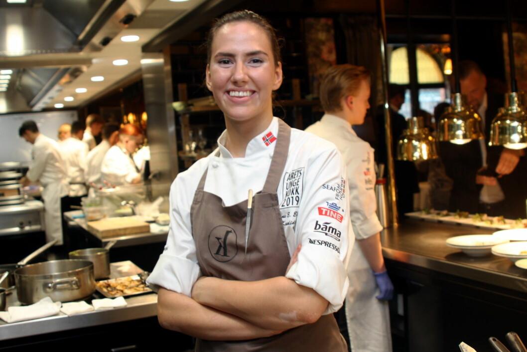 Celine Elisabeth Ekholt fra restaurant Kontrast er en av fem som kan bli den aller første vinneren av Årets unge kokk. (Foto: Morten Holt)
