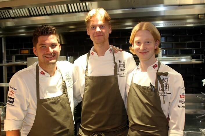 Stian Gregersen (fra venstre), Aleksander Løkkeberg Vartdal og Sebastian Skauen Johnsen. (Foto: Morten Holt)