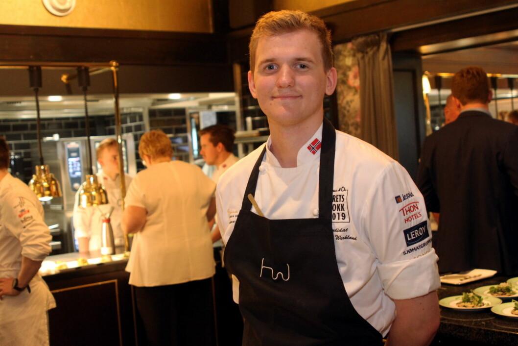 Håvard Werkland er yngstemann i finalen i Årets kokk, men NM-vinneren fra 2018 kan definitivt stikke av med seieren i den gjeve konkurransen. (Foto: Morten Holt)