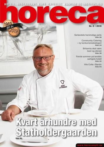 Forsiden på siste utgave av magasinet Horeca. (Foto: Morten Holt/layout: Tove Sissel Larsgård)