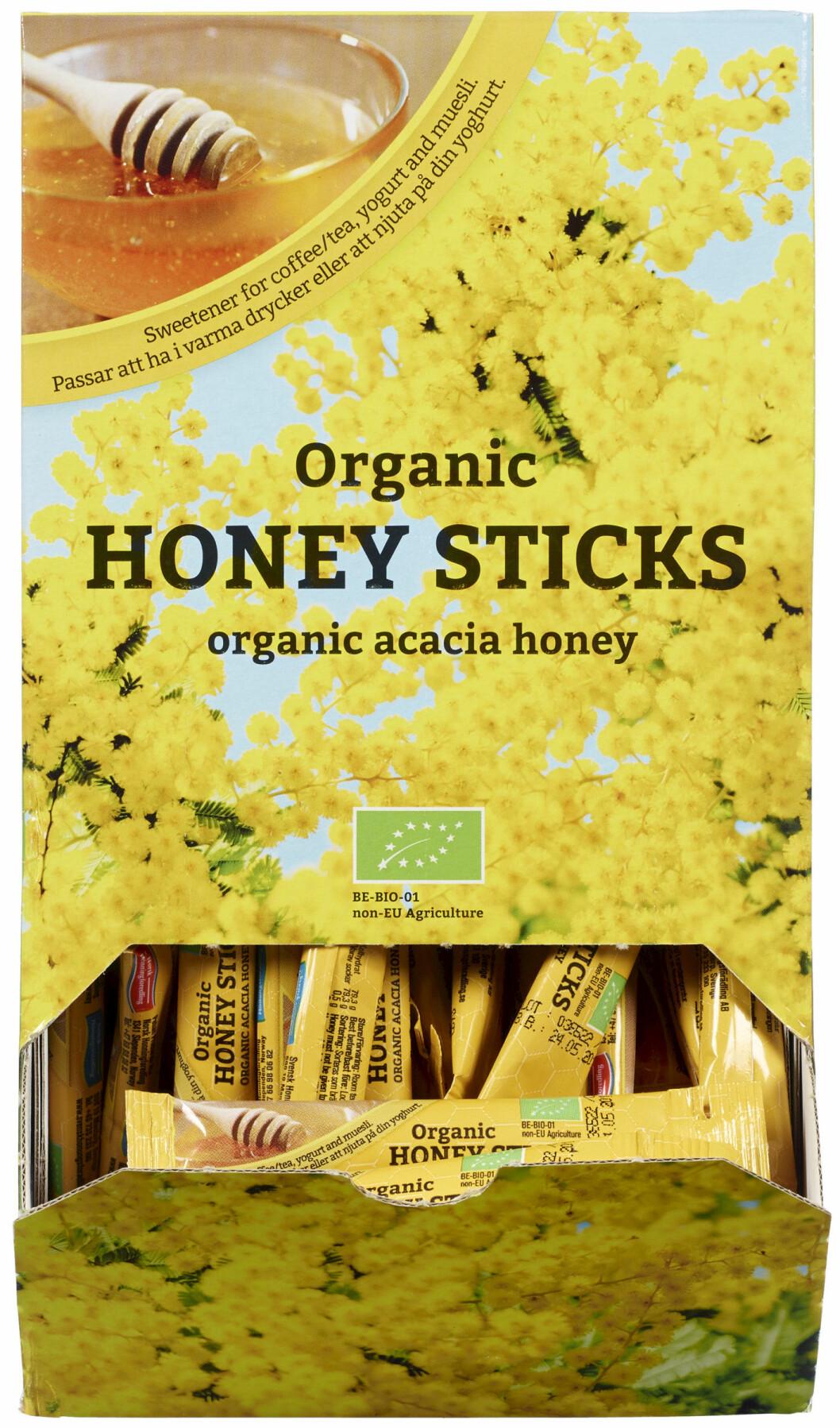 Honningsticks kan passe både på frokostbordet og på hotellrommet (Foto: Pehan Produkter as).