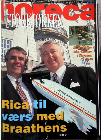 Jan E Rivelsrud på forsiden av Horeca i 1998 - sammen med kompanjong Ole-Jacob Wold.