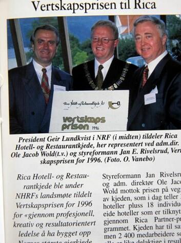 I 1996 fikk Jan E Rivelsrud og Rica vertskapsprisen.