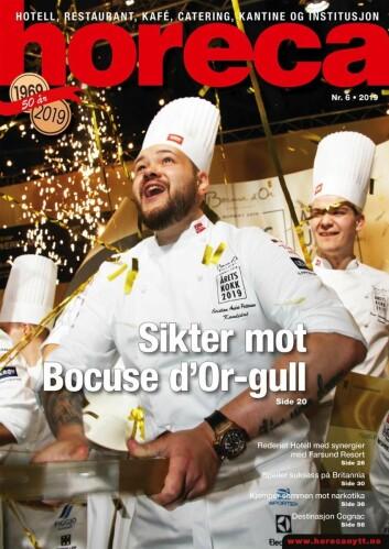 Forsiden på Horecas sjette utgave i 2019. (Foto: Heidi Fjelland/layout: Tove Sissel Larsgård)