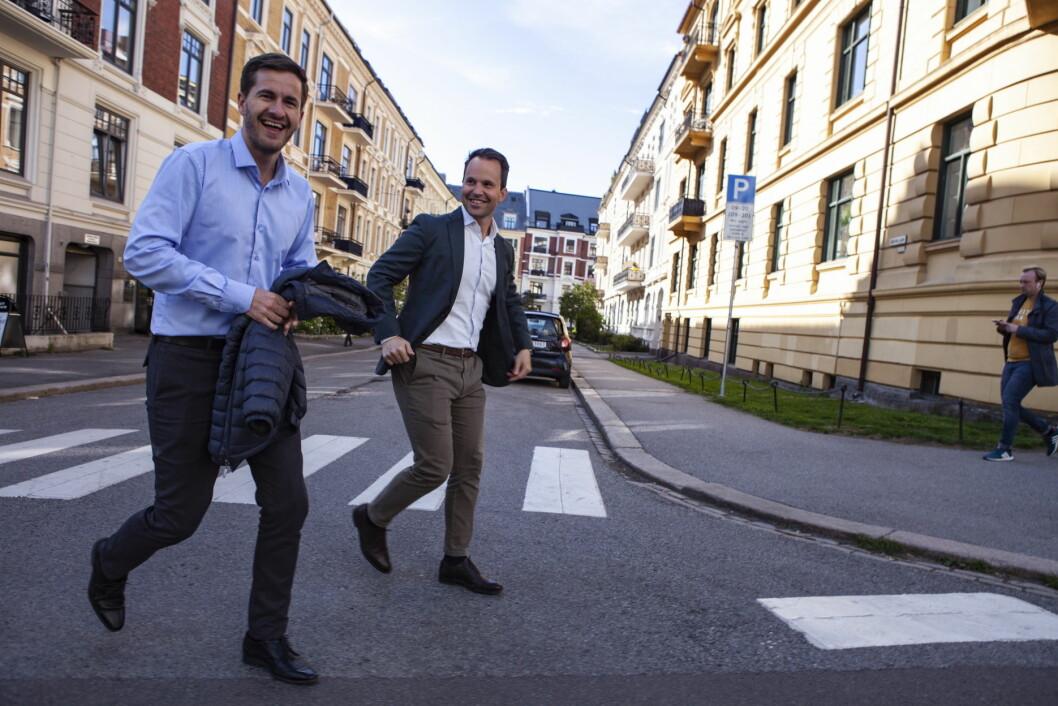 Daglig leder Pierre Puggard og salgssjef Torstein Tangene hos Frogner House i Skovveien. (Foto: Frogner House)