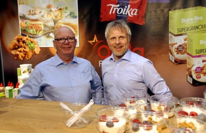 Geir Kildal (til venstre) og Bjørn Hasle hos Orkla Foods. (Foto: Morten Holt)