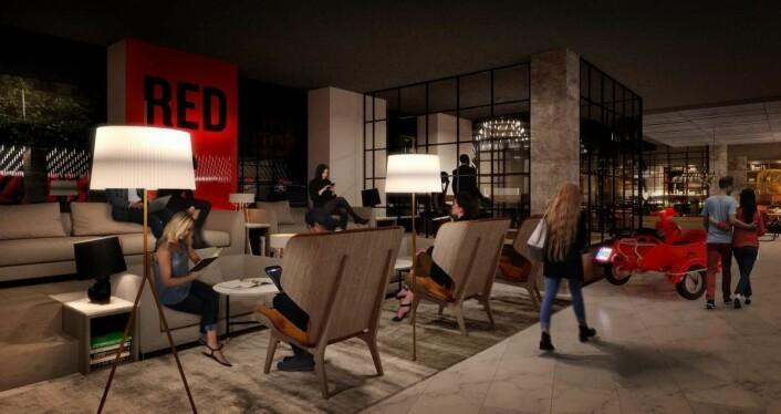 Radisson Red er Radisson Hotel Groups internasjonale livsstilsbrand. (Illustrasjon: Radisson Hotel Group)