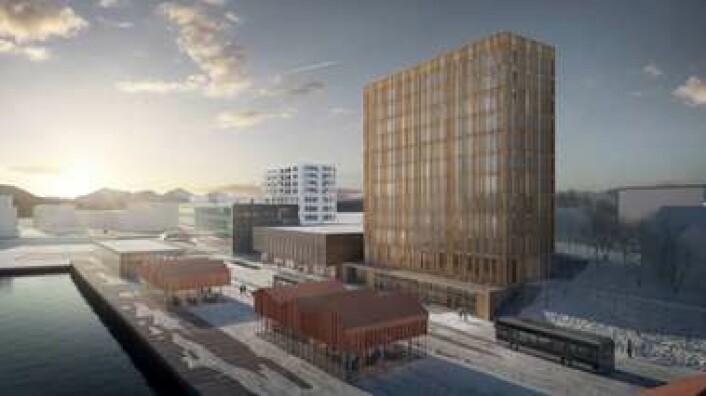 Slik ser man for seg at hotellet og kulturhuset skal bli på Finnsnes. (Foto: Illustrasjon: Senjen Holding AS)
