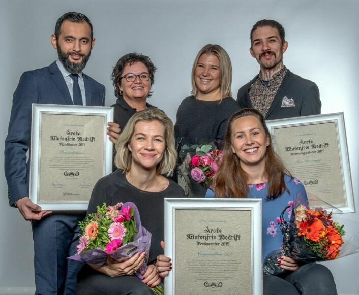 Vinnerne av de tre kategoriene i Årets glutenfrie bedrift i 2019. (Foto: Olav Urdahl)