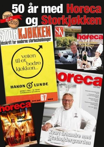 Forsiden på Horecas 50-årsjubileumsutgave, som distribueres sammen med magasinutgave 7 i 2019. (Layout: Tove Sissel Larsgård)