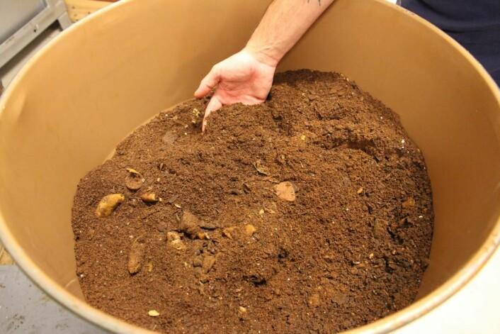 Matavfallet blir med nyvinningen Waister redusert med rundt 75 prosent. Med maskinen omdannes vått matavfall til tørt pulver, som kan minne om kaffegrut. (Foto: Morten Holt)