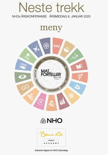 Forsiden på menyen til NHOs årsmiddag.