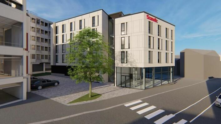 Illustrasjon av nye Scandic Victoria Hotel på Lillehammer. (Illustrasjon: Scandic Hotels)