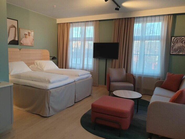 Fra ett av de nye rommene på Scandic Victoria Lillehammer Hotel. (Foto: Scandic Hotels)