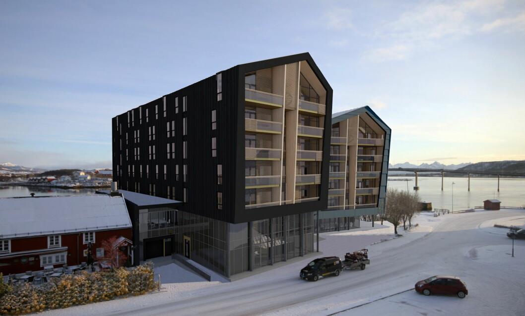 Skisse av det kommende storhotellet på Stokmarknes. (Illustrasjon: VisAvis arkitekte/Quality Hotel)