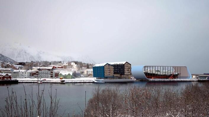 Det nye hotellet vil bli nærmeste nabo til det nye Hurtigrutemuseet. (Illustrasjon: VisAvis arkitekte/Quality Hotel)