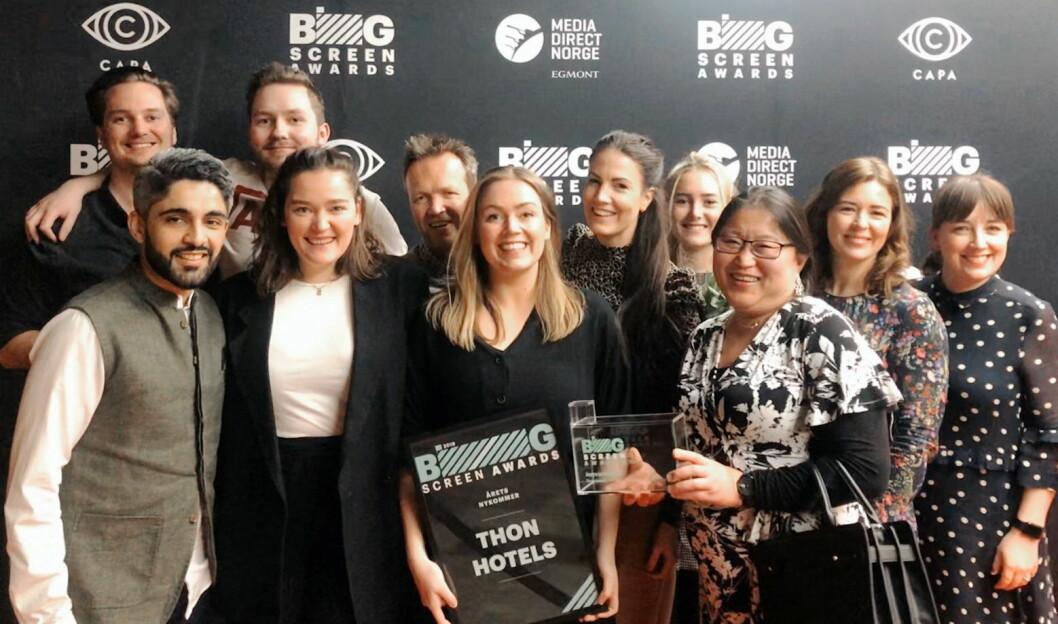 Markedsteamet til Thon Hotels og Atyp under Big Screen Awards i Oslo 30. januar 2020 på Vika Kino. (Foto: Thon Hotels)
