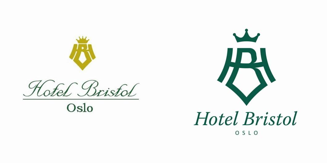 Den gamle (til venstre) og den nye logoen til Hotel Bristol. (Illustrasjon: Hotel Bristol)