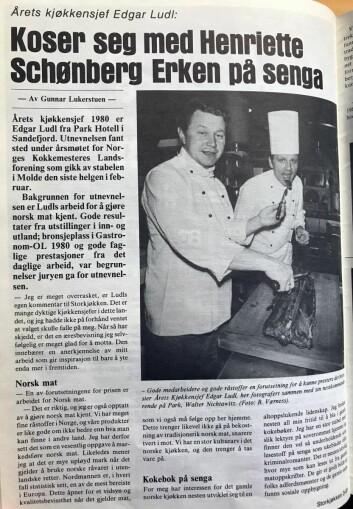Edgar Ludl i spaltene i Storkjøkken etter å ha blitt Årets kjøkkensjef i 1980. (Faksimile fra Storkjøkken)