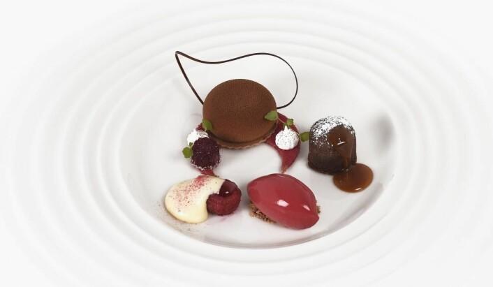 Sjokolade-cremaux, servert av juniorlandslaget. (Foto: Eirik Nilssen, Matbyrået Impuls)