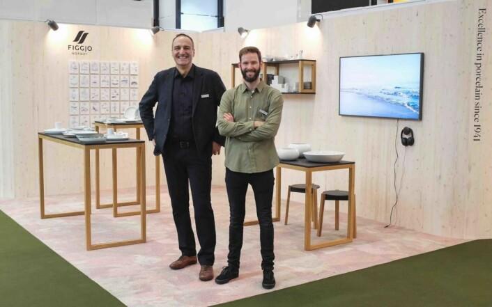 Francois L. Kolz, salgsansvarlig Figgjo Export, og Christian G. Vassdal, markedsansvarlig i Figgjo. (Foto: Nils Vanebo)