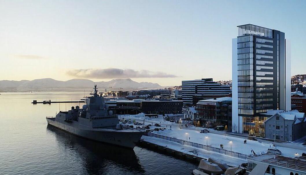 Quality-hotellet i Tromsø er tenkt bygd helt nede på kaia. I bakgrunnen Clarion Hotel The Edge. (Illustrasjon/foto: Hamperokken Arkitektur)