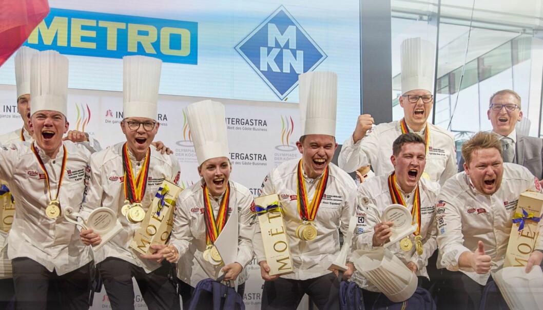 Det norske kokkelandslaget vant gull i OL i Stuttgart i februar. (Foto: IKA Culinary Olympics)