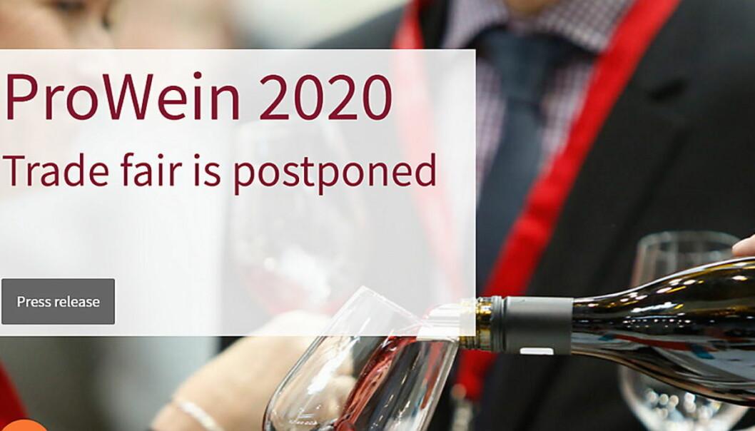 ProWein 2020, som skulle blitt arrangert om 14 dager, er avlyst. (Skjermdump fra Prowein.de)